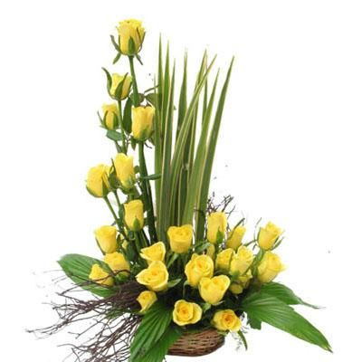 Roses india send red roses to india buy fresh rose florist india 50 yellow rose basket price rs 1499 us 25 mightylinksfo