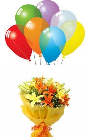 6 Air Filled Balloons Lilies Bouquet Price Rs 1400 US 2300