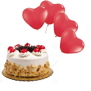 4 Red Heart Air Balloons 1 2 Kg Black Forest Cake