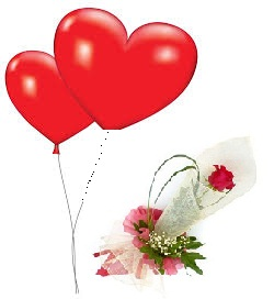 2 Red Heart Air Balloons 1 Rose