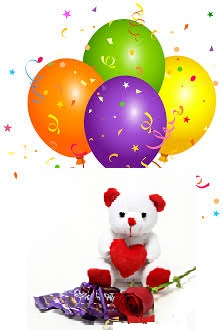 4 Air Blown Balloons 6 Inch Teddy Bear 3 Dairy Milk 1 Red Rose Rs 525 8 BuyBUY