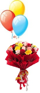 3 Air Inflated Balloons With 12 Mix Roses Hand Tied Red Wrapping