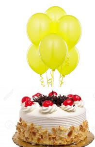 6 Yellow Air Balloons With 1 2 Kg Black Forest Cake