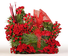 200 Red roses in a basket