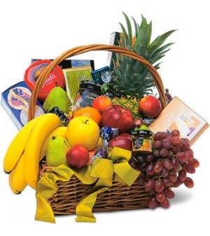 Fruits and Chocolates presented in a Hamper