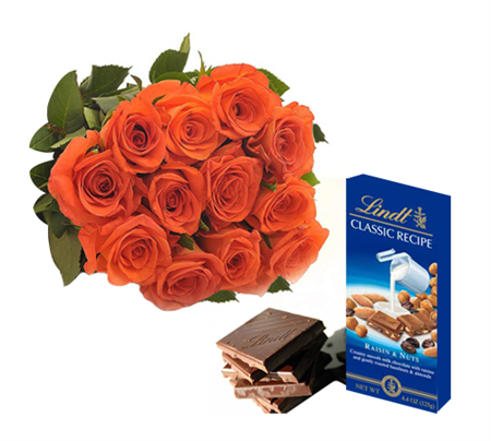 One Lindts chocolate +12 Orange Roses