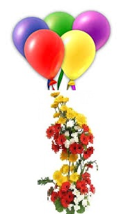 5 Coloured Air Filled Balloons 20 Mix Gerberas 2 Tier Basket Price Rs 1499 US 2500 Buy BUY