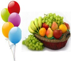 5 Air Filled Balloons 2 Kg Fresh Fruits Basket Price Rs 900 US 1500