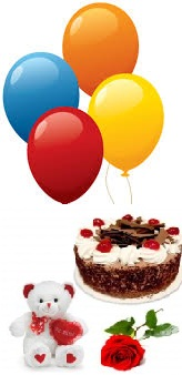 4 Air Blown Balloons 1 2Kg Black Forest Cake Red Rose 6 Inches Teddy Price Rs 1299 US 22