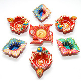 Fancy 6 Diyas different shapes