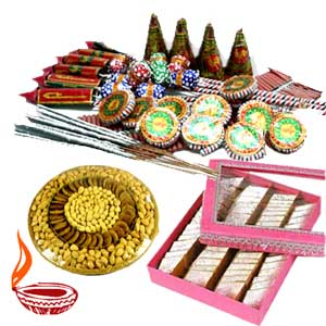 Crackers with 1/2 Kg Mix Barfi+ 1/2 Kg Dry Fruits