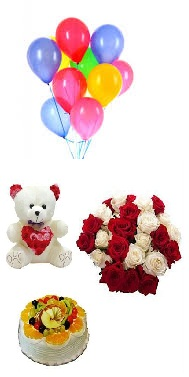 8 Air Balloons 6 Inch Teddy 1 2 Kg Fruit Cake 10 Red White Roses Price Rs 1800 US 2800