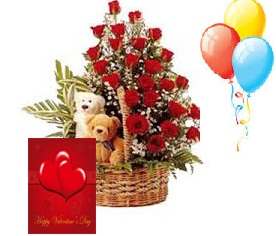 3 Air Balloons 24 Red Roses 2 Teddies In Same Basket Card Rs 1499 23