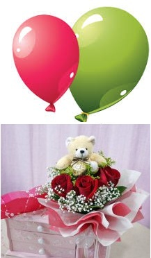 2 Air Balloons 6 Inches Teddy 3 Red Roses In Same Basket Rs 699 11