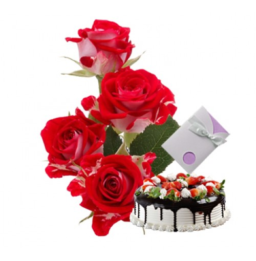 6 red Roses Vase + Card + 1/2 Kg Chocolate Cake
