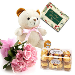Card + 16 Ferrero Rocher Chocolates + 12 Pink Roses