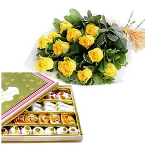 1/2 Kg Mix Barfi and 12 Yellow roses
