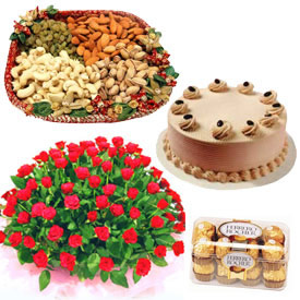 1/2 Kg Cake+16 Ferrero Rocher chocolates + 1/2 Kg Dry Fruits + 24 red roses Basket