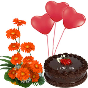 1/2 Kg Chocolate Cake+3 Red Heart Balloons+12 Orange Gerberas Basket