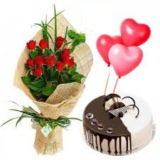 1/2 Kg Chocolate Cake+3 Balloons+12 Red Roses Basket