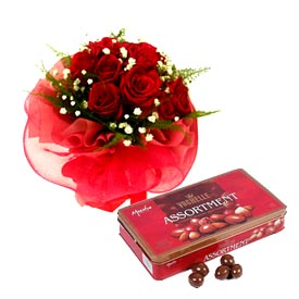 12 red roses + Box of Vochelle Chocolates