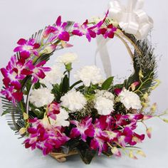Colorful arrangement of orchids