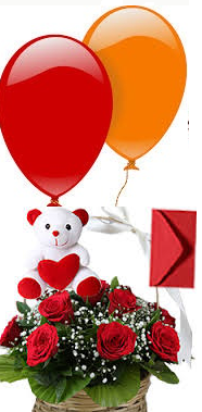 2 Air Blown Balloons 10 Red Roses Basket Teddy Card Rs 1400 22