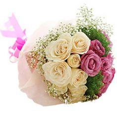 12 White Pink Roses basket