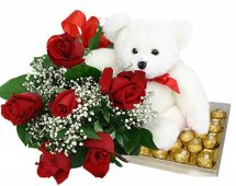 Teddy and 12 Roses +16 Fererro Rocher