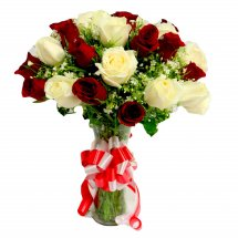 24 Red and White Assorted Flowers