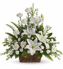 Arrangement of white carnations, roses+white Liliums