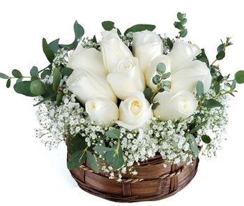 White Roses basket