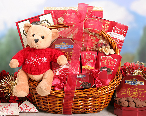 Gifts Hamper of 1 Kg Chocolates, 1 Kg Candy, and a Teddy Bear.