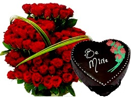 2 Kg Heart Cake 24 Red Roses Basket Rs 3500 US 5500