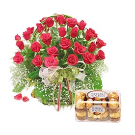 24 red roses basket+16 ferrero chocolates