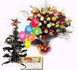 50 Roses Arrangement with Christmas Tree, Baloons & X-mas Card