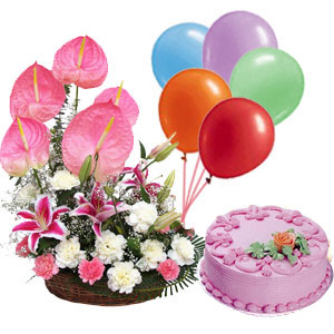 1 2 Kg Strawberry Cake 6 Balloons 24 Pink Anthuriums Carnation Basket
