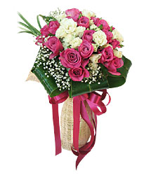 Pink and white roses Basket