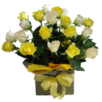 24 Yellow and White Roses Basket
