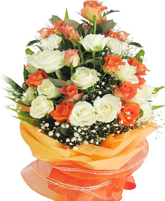 Center Table Arrangement Of 24 Orange And White Roses