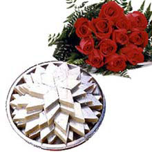 1 Kg. kaju Barfi and 12 red roses